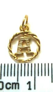 9ct Yellow Gold Block Initial Charm / Pendant in a Rope Twist Border
