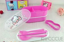 Hello Kitty Double-deck Lunch Box Bento Box fork chopsticks spoon K236
