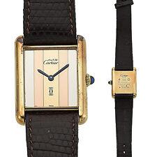 Tri-Color Must de CARTIER Paris TANK-Vermeil 925 Authentic Watch Unisex