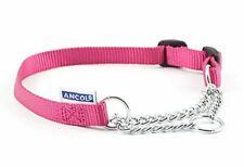 Ancol Heritage Nylon & Chain Check Dog Collar Raspberry 19mm X50-70cm Sz5-9