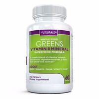 Whole Food Greens Multivitamin Daily Health w/ Antioxidant & Probiotics 60 Caps