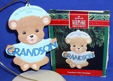 Hallmark Ornament Grandson's My First Christmas 1991 Boy Bear NIB Damaged Box