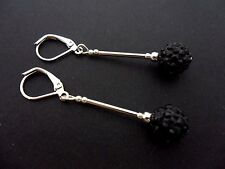 A PAIR OF DANGLY BLACK SHAMBALLA STYLE  SILVER PLATED LEVERBACK HOOK EARRINGS.
