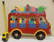 "Mexican Folk Art Metal Bus Hand Painted 15.5"" x 18.5"""