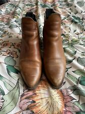Brown Tan Margot TOPSHOP Leather boots Size 6 mid heel.