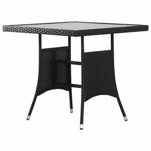 Rattan Garden Table Square Glass Tabletop Elegant Patio Outdoor Furniture Black
