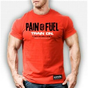 Pain is Fuel Train on Men's Monsta Clothing Bodybuilding Gym T-Shirt: Red