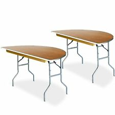 "2 Half Round Folding Tables 60"" Premium Birch Wood Top Aluminum Banquet Table"