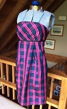 VINEYARD VINES Silk Plaid Strapless Dress Knee Length Women's Size 4