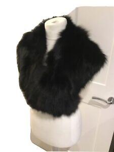 Vintage 1990's Kryos , Paris, Real Black Fox Fur Stole With Ties,