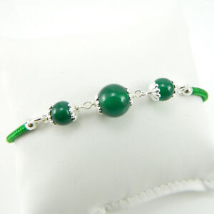 Su Coccu bracciale sardo verde portafortuna cordino argento 925 sfere giada