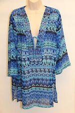 New Raviya Swimsuit Cover Up Tunic Dress Size S Black Blue