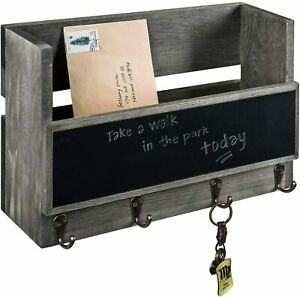 MyGift Vintage Gray Wood Wall Mounted Mail Holder with Chalkboard and Key Hooks