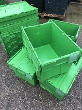 More details for 15 x heavy duty plastic storage tote boxes 70x47cm crates hinge lids stackable