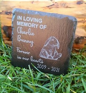 Personalised Engraved Slate Pet Memorial Grave Marker Plaque for a Rabbit gift