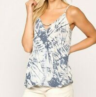 New Gigio By Umgee Tank Top L Large Tie Dye Blue Surplice Boho Peasant Hippie