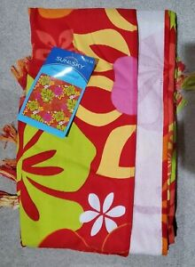 Sun And Sky Beach Pool Picnic Blanket Towel For Two 60x60 Tropical print /fringe