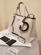 NWT Prada Saffiano Cuir Leather Tote in Chalk White BN2823