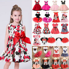 Minnie Mouse Baby Kid Girls Birthday Fancy Party Dress Up Tutu Tulle Dress Skirt