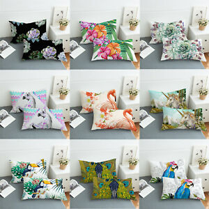 2x Tropical Flowers Animal Bedding Deco Cushion Covers Throw Pillow Shams Cases