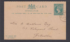 Gibraltar H&G 18 used 1889 5c + 5c Postal Reply Double Card, fresh & VF
