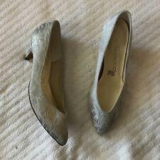 Pale Blue/Silver Vintage Colorific Lace Pumps Shoes Size 8 Something Old/Blue