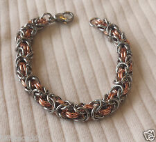 Stainless Steel & Copper Byzantine Chain Maille Bracelet USA  Chain Mail