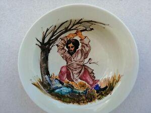 Ceramica artistica Pavon Andrea grande piatto smaltato TAGLIALEGNA dipinto 35cm