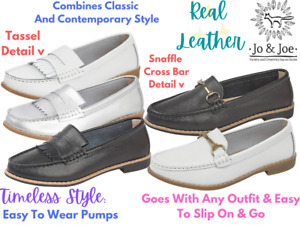 Ladies Jo And Joe Leather Slip On Tassel Moccasin Penny Loafers Casual Pumps