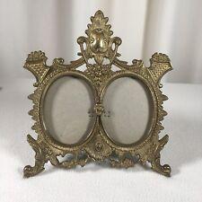 "Brass Ornate Frame 10""x 8.5"" Shelf Style 4""x 3"" Window Victorian Style"