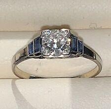 Diamond and Sapphire Set in Platinum Engagement / Dress Ring