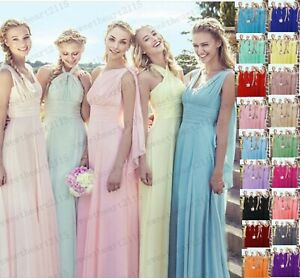 New Long Chiffon Evening Formal Party Ball Gown Prom Bridesmaid Dress Size 6-28