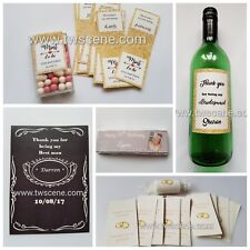 Personalised labels for sweets, chocolates & bottles wedding birthday hen party