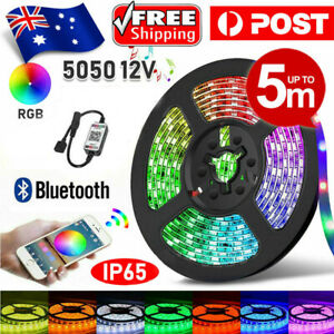RGB LED Strip Lights IP65 Waterproof 5050 5M LEDs RGB 12V + Bluetooth Receiver