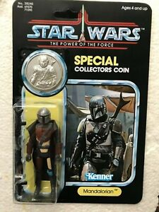 RETRO COLLECTION MANDALORIAN ON  POWER OF THE FORCE UNRELEASED CARD & SILVERCOIN