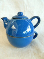 Pier 1 Teapot Single Serve 3 Pc Set  Pot Cup Lid  Blue w/ Brown Spatter