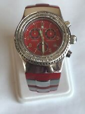 2.0 CT Diamond baguettes chronograph Unisex red watch AQUA MARIN WATER RESISTANT