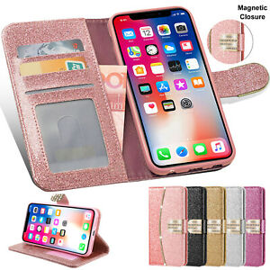 Bling Glitter Wallet Leather Case Flip Stand Cover For iPhone 12 Pro11 7 8 6S SE