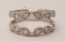 14k White Gold Solitaire Enhancer Vintage Round Diamonds Ring Guard Wrap Flower