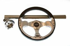 Club Car Precedent Black/Chrome Steering Wheel/Hub Adapter/Chrome Cover Kit