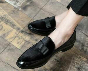 Fashion Mens Suede Flats With Bowtie Loafers Slip on Belgian Dress Casual Shoes
