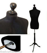 Size 10/12 BLACK Female Dressmakers Dummy MANNEQUIN TAILORS Bust Craft Sewing