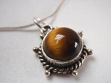Tiger Eye 925 Sterling Silver Necklace Rope Style Accented Corona Sun Jewelry