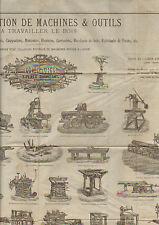 """PARIS (XII°) MACHINES & OUTILS à TRAVAILLER LE BOIS """"GERARD"""" AFFICHE en 1880"""