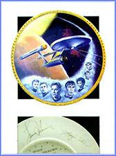 "1986 USS ENTERPRISE-Star Trek 12"" Gold Border Plate w Replica Signatures- MIB"