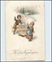 Gruss NEUJAHR Neues Jahr Gruss 1924 Künstlerkarte mit kleinen Kindern Kind Motiv