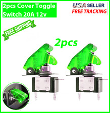 2X GREEN Cover LED Toggle Switch Racing SPST ON/OFF 20A ATV 12V Car Truck UTV