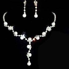 Bridal Wedding Jewelry Crystal Rhinestone Faux Pearl Necklace Earrings Set