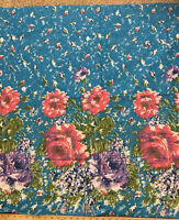"2 yds x 35"" 1950s Cabbage Roses Novelty Border Fabric Skirt Vintage Mid Century"