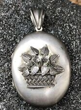 Basket Of Flowers Locket Pendant Antique Victorian Sterling Silver High Relief